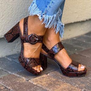 Animal Print Block Chunky Heel Platform Sandal